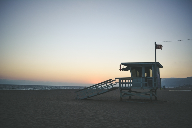 malibu beach lifeguard tower at sunset